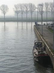 vélo, canal, Bossuit, Courtrai, Schelde, Flandre, Belgique