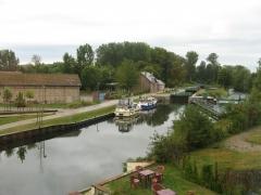 comptoir, bleu, écluse, canal, Somme, vélo, randonnée
